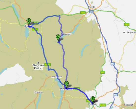 Lake District National Park Europe Beyond – Map Driving Route