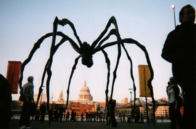view from tate modern over to st pauls cathedral through giant spider - Must See London