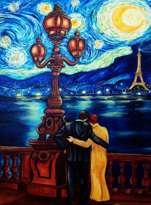 lovers paris evening by van gogh